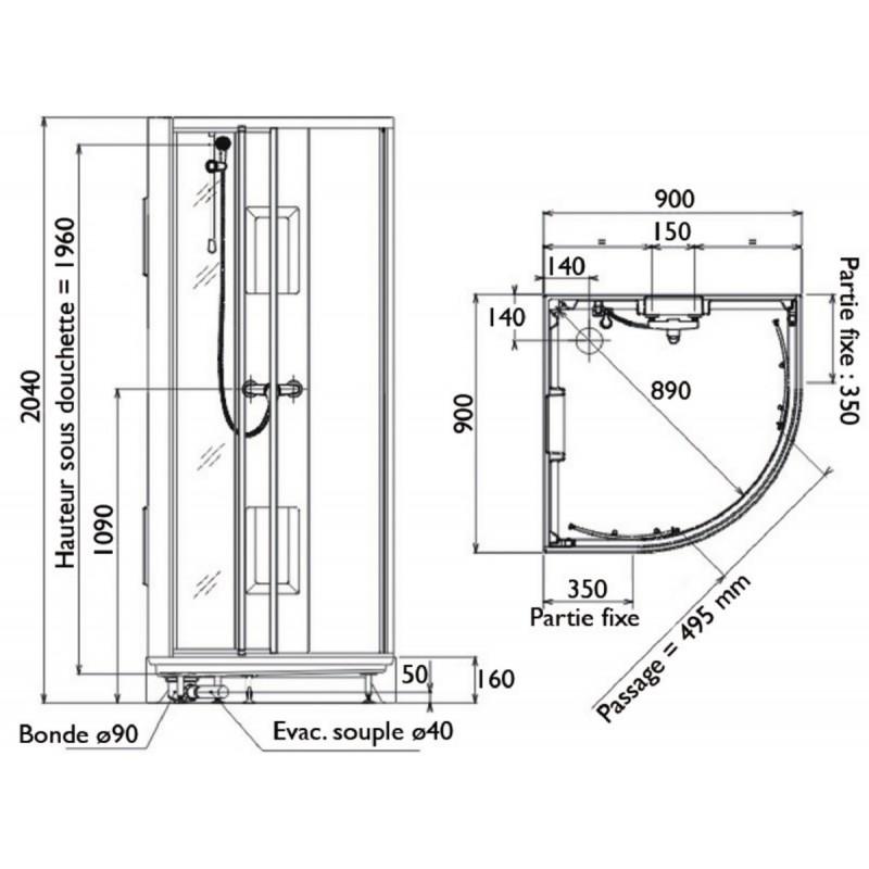 Cabine de douche leda 90 x 90 quart de rond livr pos for Plans de cabine gratuits