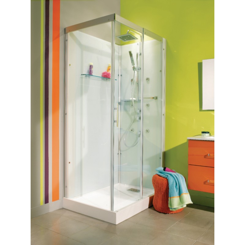 Cabine de douche alterna domino 110 x 80 rectangulaire version confort livr e - Cabine douche complete ...