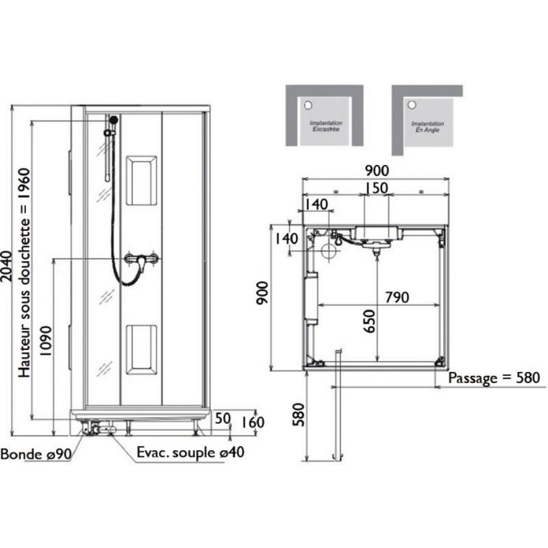 cabine de douche leda izibox carr e 90 x 90 carr e livr e et install e. Black Bedroom Furniture Sets. Home Design Ideas