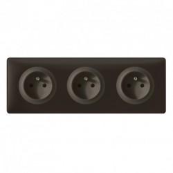 Triple prise Legrand Céliane 3x2P+T - Appareillage complet Poudré Basalte encastré