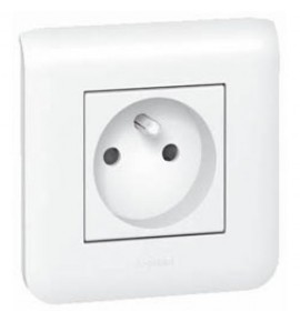 Prise simple Legrand Mozaic 2P+T - Appareillage complet Blanc saillie
