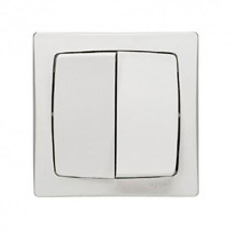 Double interrupteur va-et-vient Legrand Otéo - Appareillage complet Blanc saillie