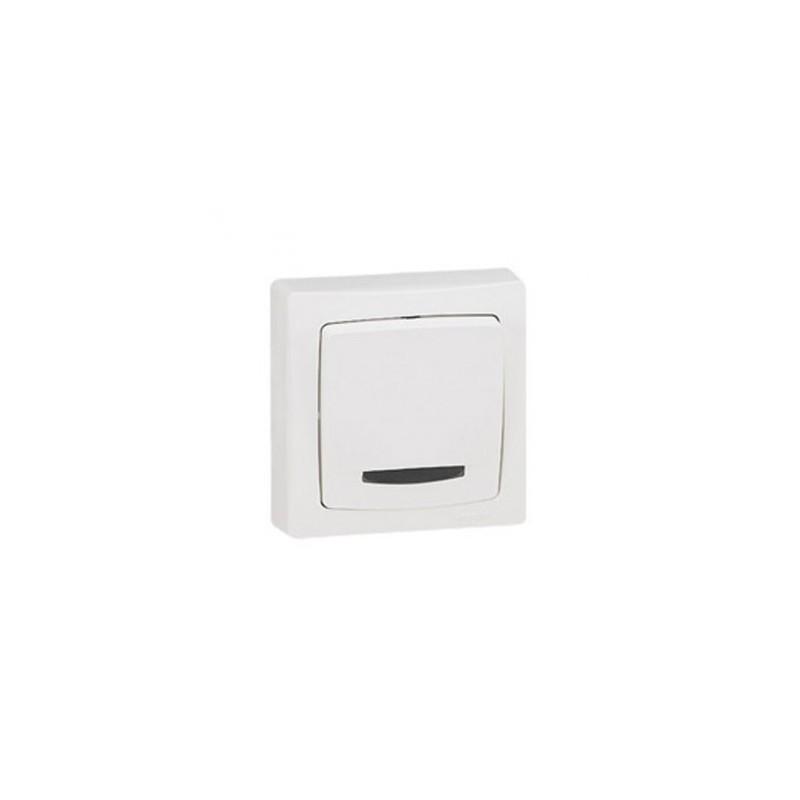 interrupteur poussoir t moin lumineux legrand ot o appareillage complet blanc saillie. Black Bedroom Furniture Sets. Home Design Ideas