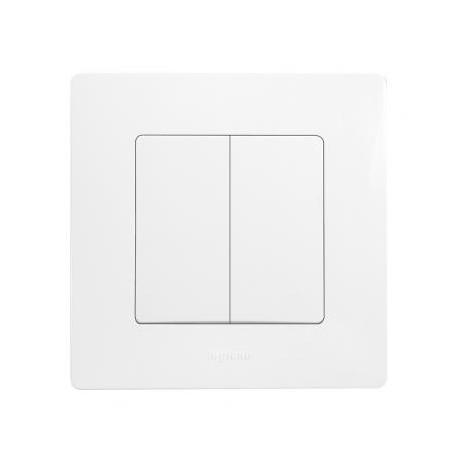 Double interrupteur va-et-vient Legrand Niloé - Appareillage complet Blanc encastré