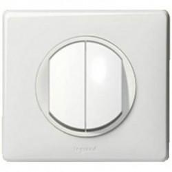 Interrupteur double va-et-vient Legrand Céliane - Appareillage complet Blanc encastré