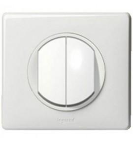 Interrupteur double poussoir Legrand Céliane - Appareillage complet Blanc encastré