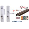 Pack sécurité : Poignée Blindée Héraclès - Argent + Cornières anti-pinces avec couleur au choix