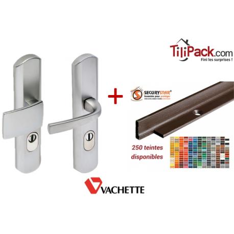 Pack sécurité : Poignée palière Vachette Muze - Chromé velours + Cornières anti-pinces avec couleur au choix