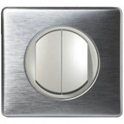 Interrupteur double poussoir Legrand Céliane - Appareillage complet Anodisé Alu encastré