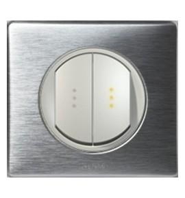 Interrupteur double poussoir à voyant Legrand Céliane - Appareillage complet Anodisé Alu encastré