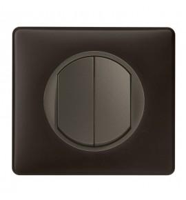 Interrupteur double poussoir Legrand Céliane - Appareillage complet Poudré Basalte encastré