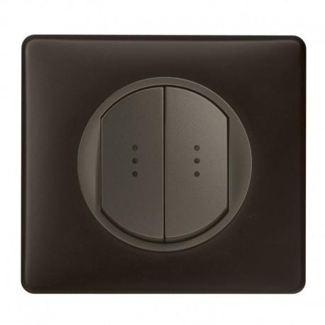Interrupteur double poussoir à voyant Legrand Céliane - Appareillage complet Poudré Basalte encastré