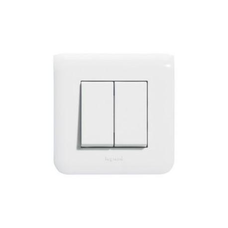 Interrupteur double poussoir Legrand Mosaic - Appareillage complet Blanc encastré