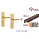 Ensemble de sécurité double béquille blindée, Héraclès Salomé™ - Doré + Cornières anti-pinces avec couleur au choix