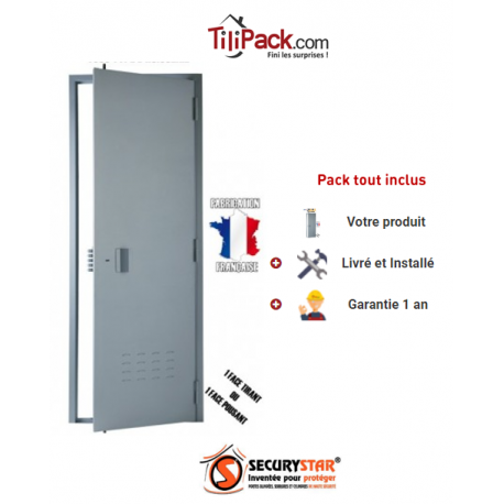 Porte de cave A2P BP1, Securystar Eco, Serrure applique 3 points a2p*