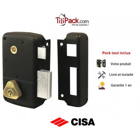 Serrure en applique verticale Cisa monopoint à fouillot 40mm - DROITE