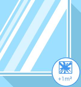 Vitrage cassé - double vitrage +1m2