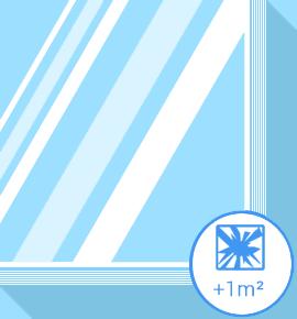 Vitrage cassé - verre feuilleté +1m2