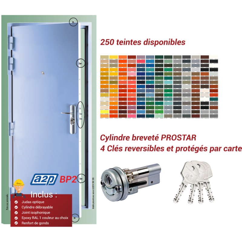 Bloc porte blind securystar l gance a2p bp2 5 pts for Porte 5 points