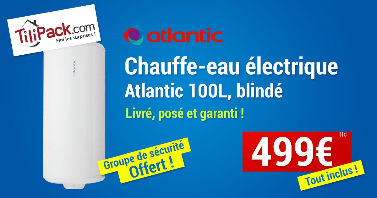 Chauffe-eau électrique Atlantic 100l vertical blindé