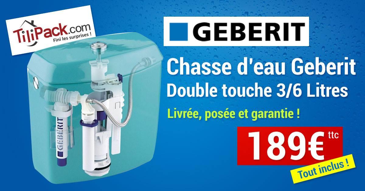 Mécanisme de chasse d'eau universel Double touche Geberit Nemo duo IMPULS 590